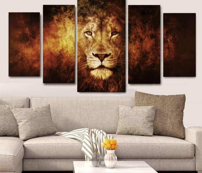 canvas-quadro-canvas-leao-em-chamas-5-telas-para-sala--p-1557947304111